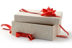Opened gift. In white box Royalty Free Stock Photo