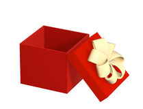 Opened gift 3d box of red color Royalty Free Stock Image