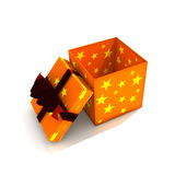 Opened gift box. 3d isolated illustration on white Royalty Free Stock Images