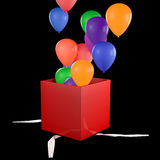 Opened Gift Box with Balloons. High quality 3d render of gift box isolated  on black Stock Photography