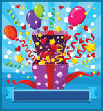Opened gift box with balloons and confetti. Vector illustration Royalty Free Stock Image