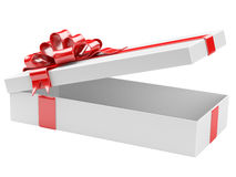Opened gift box blank gift tag Stock Photo