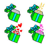 Opened gift box with dollar, hearts and flowers Stock Photos
