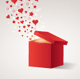 Opened gift box with flying hearts and stars Stock Photography