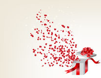 Opened gift box with flying hearts, Valentine's Royalty Free Stock Photos