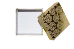 Opened Gift Box. Opened gold Gift Box with blank  on white background Royalty Free Stock Images