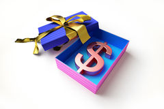 Opened gift box with golden ribbon, with the ameri Stock Photo