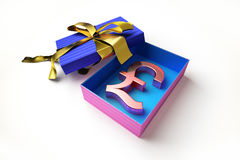 Opened gift box with golden ribbon, with the sterling pound symbol inside Royalty Free Stock Images