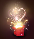 Opened gift-box with  hearts. Opened gift-box with  hearts blow-up on dark Royalty Free Stock Photos