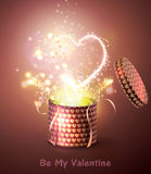 Opened gift-box with  hearts. Stock Images