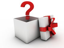 Opened gift box with question mark. Gift box with red bow. Computer render Royalty Free Stock Photography