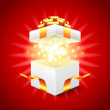 Opened gift box on red background vector. Opened gift box on red background photo realistic vector Stock Image