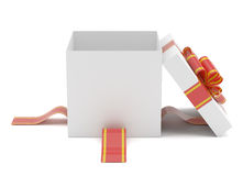 Opened gift box with red bow Royalty Free Stock Images