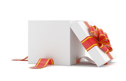Opened gift box with red bow Stock Photography