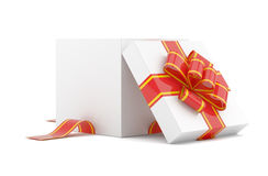 Opened gift box with red bow Stock Photos