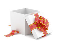 Opened gift box with red bow Stock Images