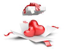 Opened gift box with red hearts Royalty Free Stock Images