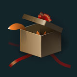 Opened gift box with red strips and something cute Royalty Free Stock Photos