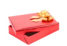 Opened gift box with ribbon. Royalty Free Stock Photos