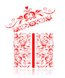 Opened gift box stylized, floral ornament design Stock Photo