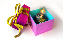 Opened Gift Box With A Bomb Inside, On White Surface. Stock Photography