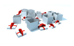 Opened gift boxes. 3d isolated illustration on white Stock Photos