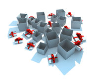 Opened gift boxes. 3d isolated illustration on white Vector Illustration