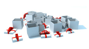 Opened gift boxes. 3d isolated illustration on white Stock Photography