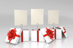 Opened gift boxes with blank cards Stock Images