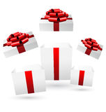 Opened gift boxes on grayscale Royalty Free Stock Image
