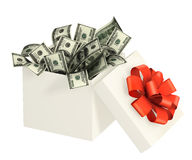 Opened gift and dollars Stock Photography