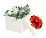 Opened gift and euro Royalty Free Stock Image