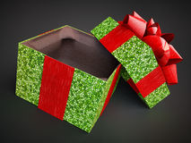 Opened gift present box  on dark background. mosaic pattern. render cg illustration purple cap lid violet empty present ca Royalty Free Stock Photography