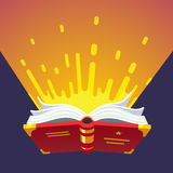 Opened glowing magical book. Of sacred wizard secret spells. Modern flat style vector illustration Royalty Free Stock Photography