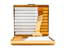 Opened gold cigarette-case with cigarettes Royalty Free Stock Photography