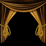 Opened gold curtains on black background royalty free illustration
