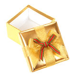 Opened gold gift box Royalty Free Stock Images