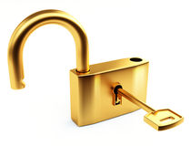 Opened gold lock Royalty Free Stock Images