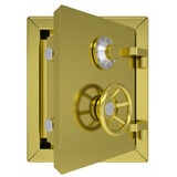 Opened gold safe. Isolated render on a white background Stock Image