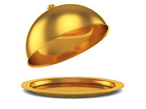 Opened golden cloche. 3d render of opened golden cloche, isolated on white background Royalty Free Stock Photography
