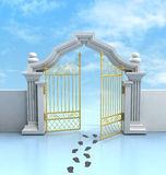 Opened golden entrance with footprints and sky Royalty Free Stock Photo