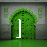 Opened green doorway in the wall Stock Image