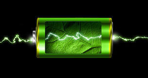 Opened green energy battery power spark. Opened green energy battery cell power spark isolated Royalty Free Stock Photo