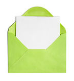 Opened green envelope or cover stock photos