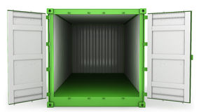 Opened green freight, front view Stock Photography