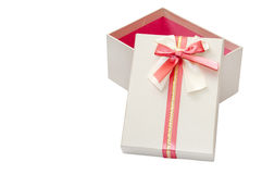 OPENED GREY GIFT BOX WITH RED BOW Royalty Free Stock Photos