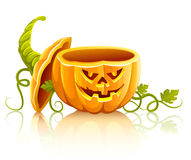 Opened halloween pumpkin vegetable with lid Stock Images