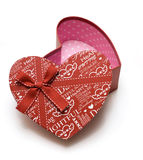 Opened hand-made red heart gift box Stock Images