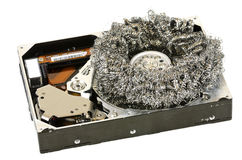 Opened hard-disc with steel wool #2 Royalty Free Stock Image