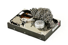 Opened hard disc with steel wool Royalty Free Stock Photography